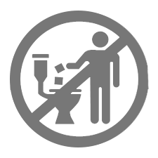 Toilet Icon - Flush only toilet paper when using the restroom
